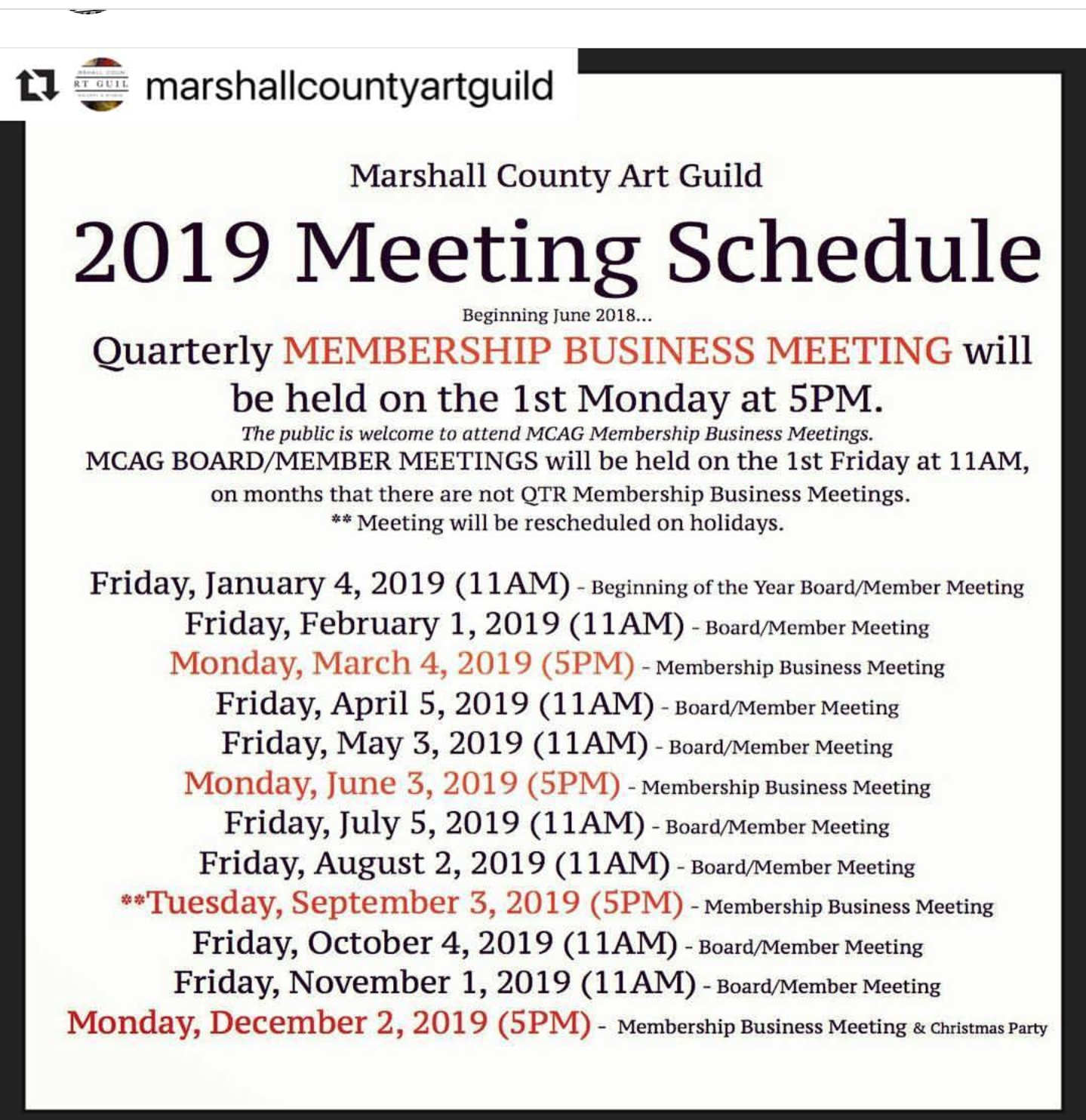 Art Guild 2019 Schedule