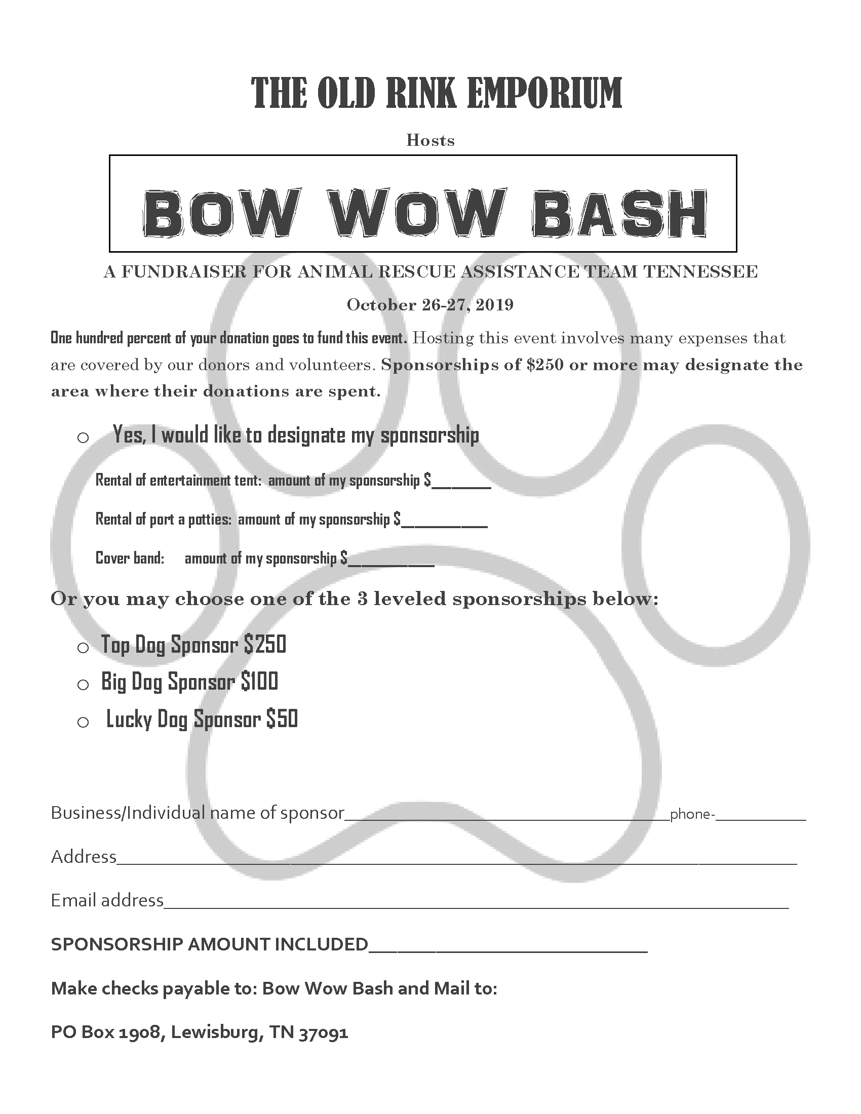 Bow Wow Bash Fall 2019 Sponsorship Form Page 1