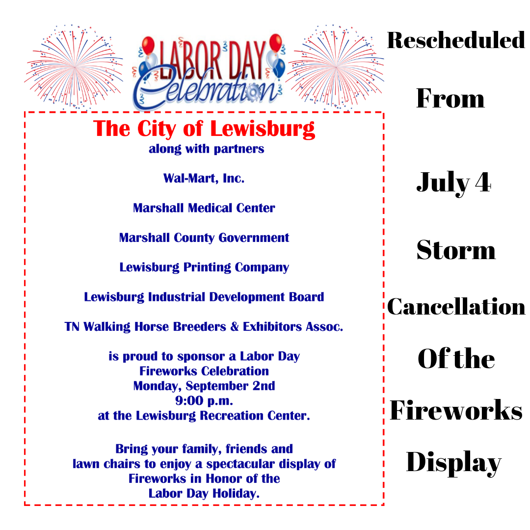 Fireworks Display Rescheduled from July 4 to Labor Day