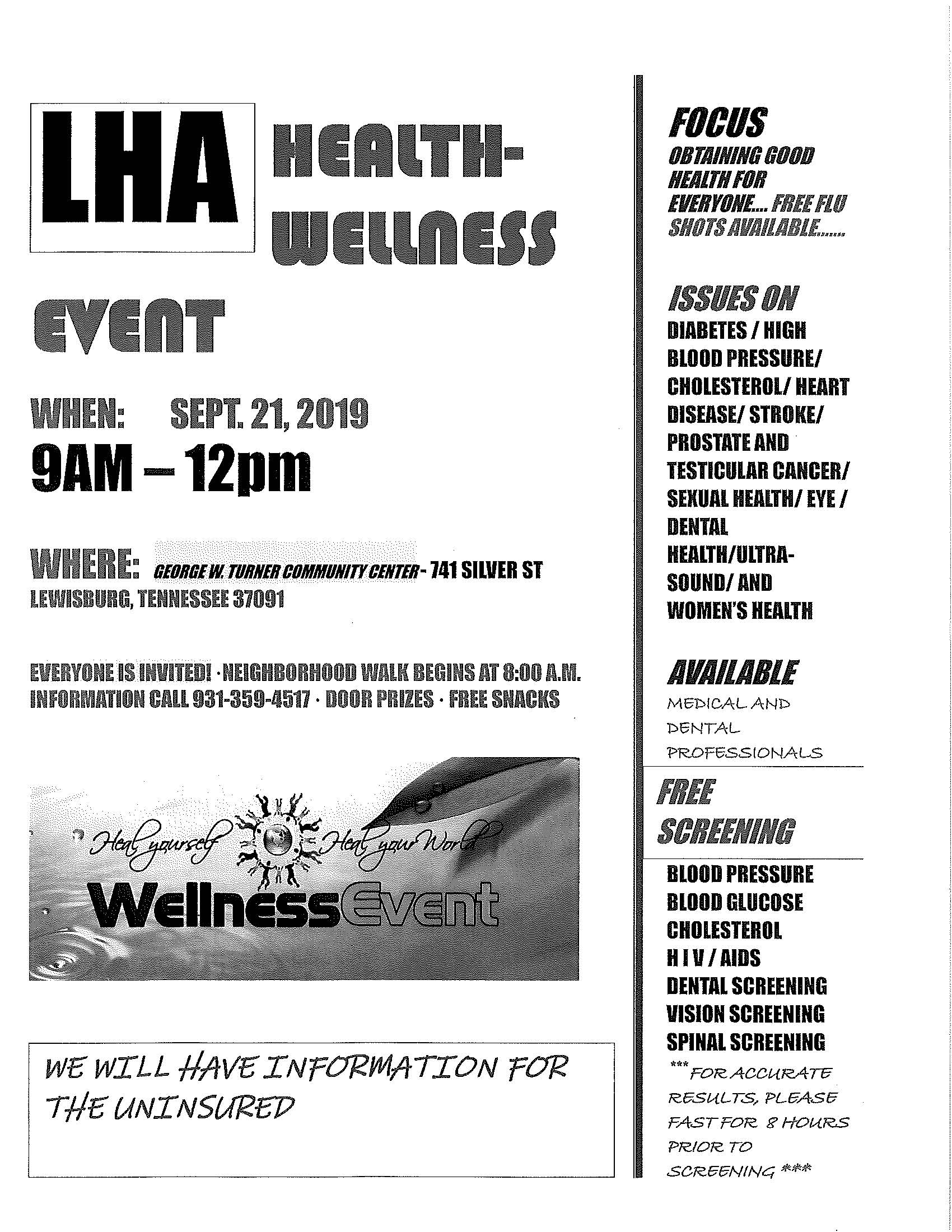 Health Fair Flyer Page 1