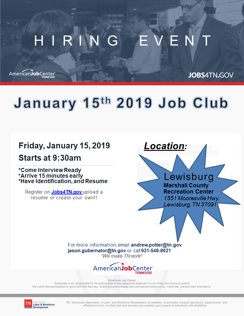 Hiring Event Flyer NEW PPT January 2019 Lewisburg
