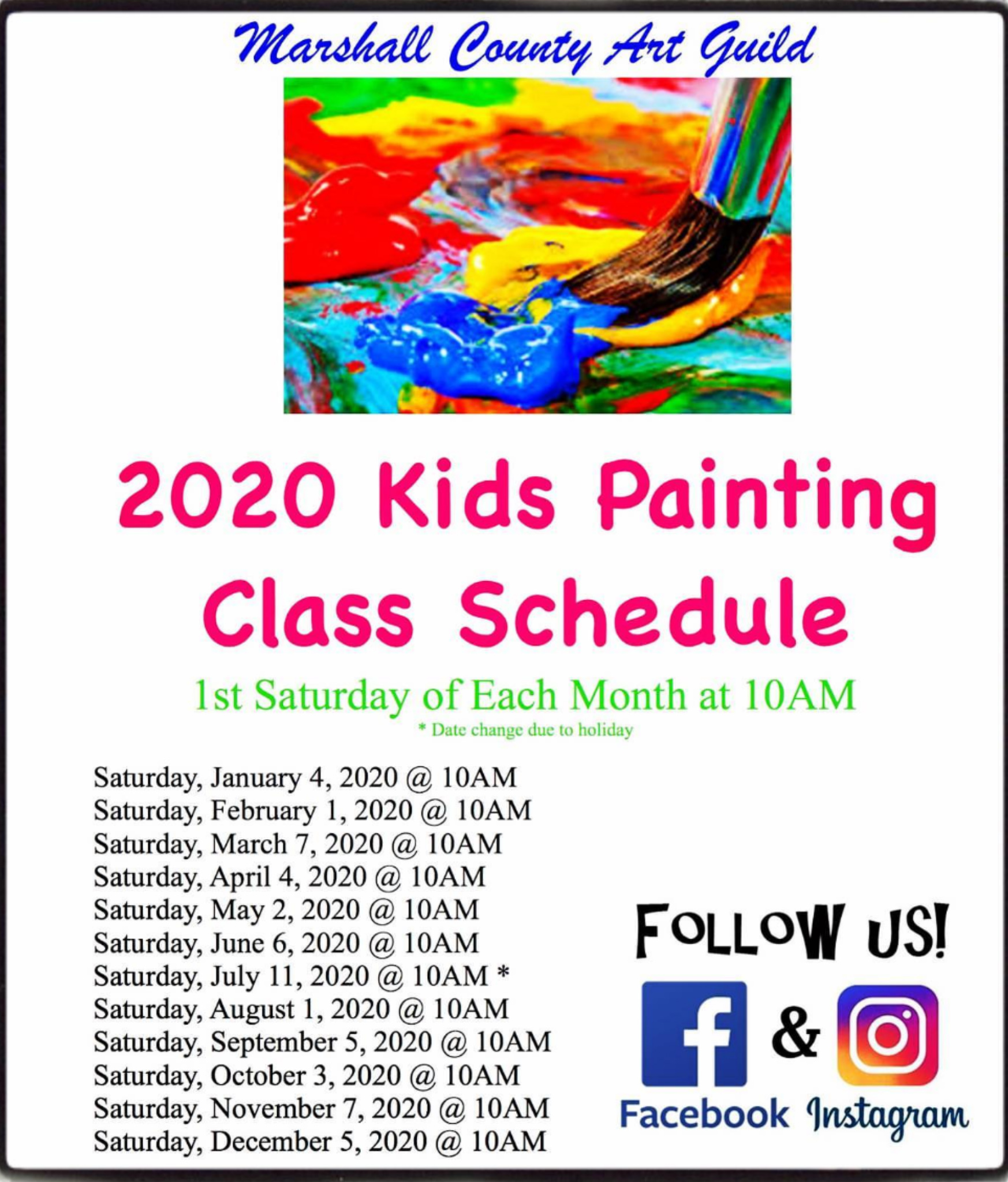 Kids Painting Class Schedule
