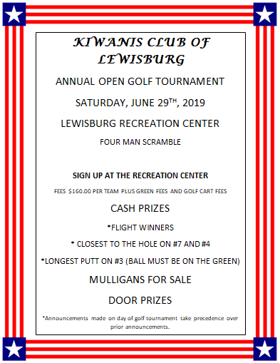 Kiwanis Golf tournament flyer 2019