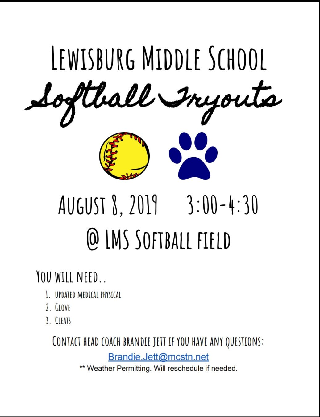 LMS Softball Tryouts