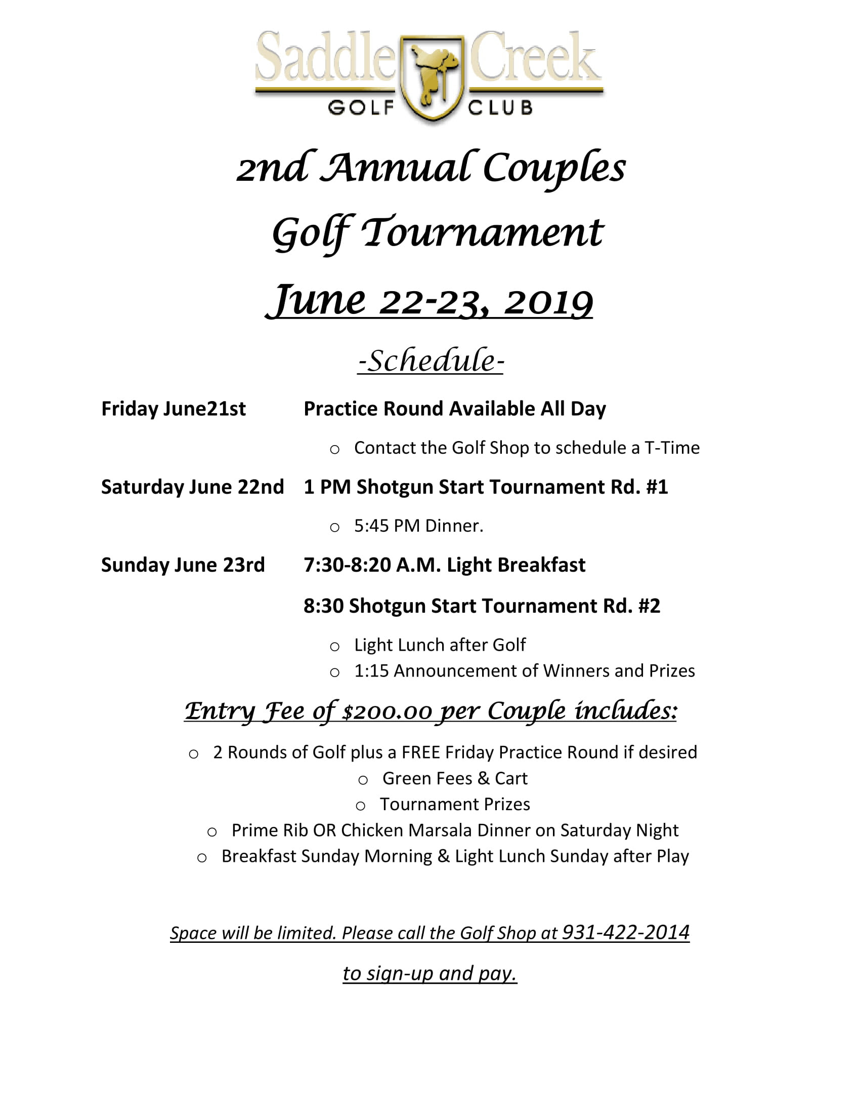 Saddle Creek Couples Tourney