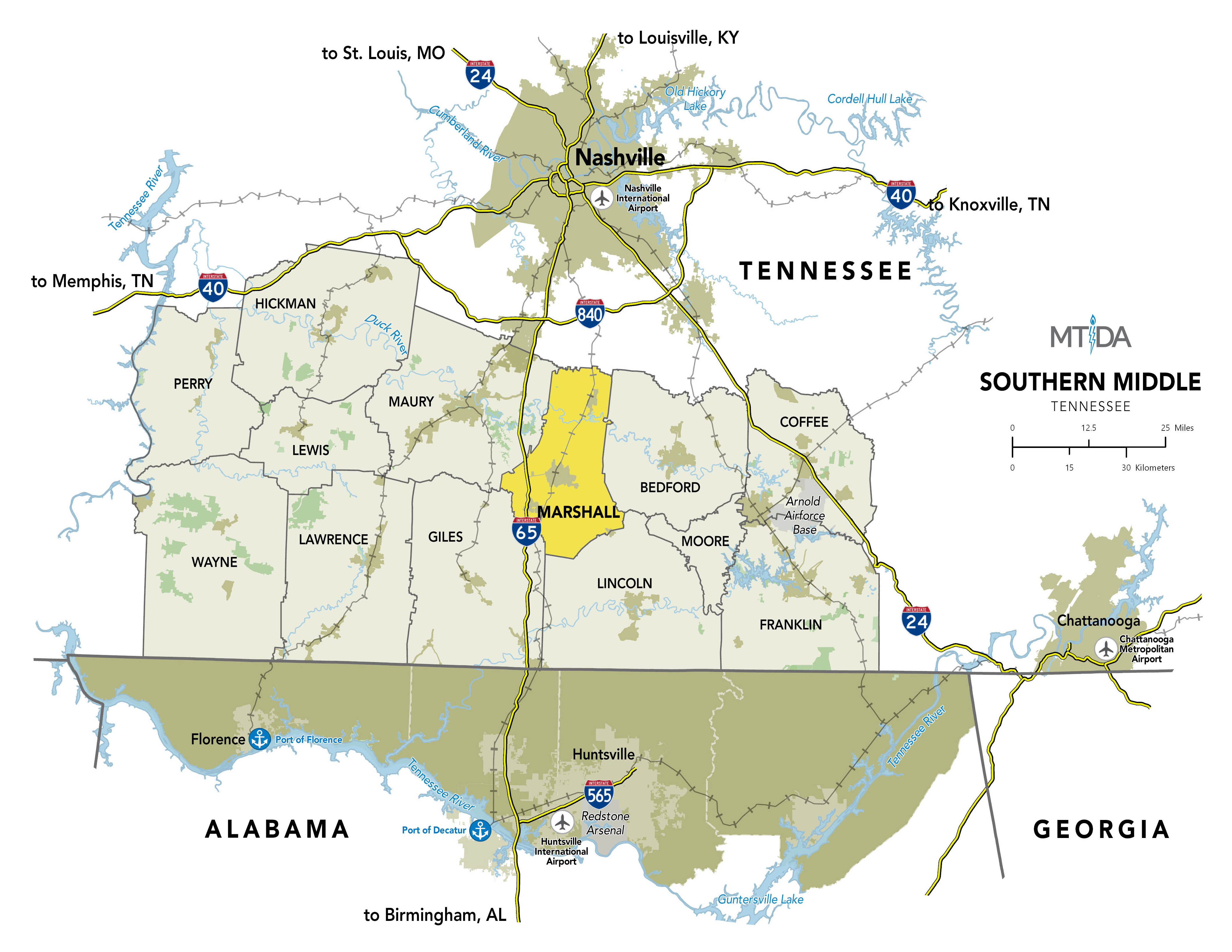Southern Middle TN Map by MTIDA
