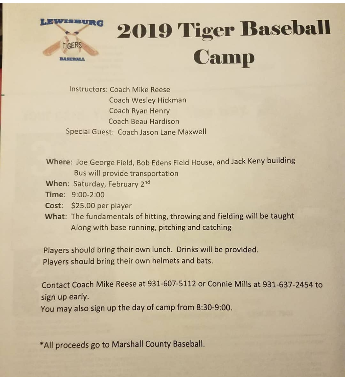 Tiger Baseball Camp